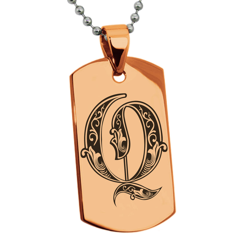 Stainless Steel Letter Q Alphabet Initial Royal Monogram Engraved Dog Tag Pendant Necklace - Tioneer