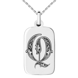 Stainless Steel Letter Q Initial Royal Monogram Engraved Small Rectangle Dog Tag Charm Pendant Necklace