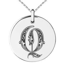 Stainless Steel Letter Q Initial Royal Monogram Engraved Small Medallion Circle Charm Pendant Necklace