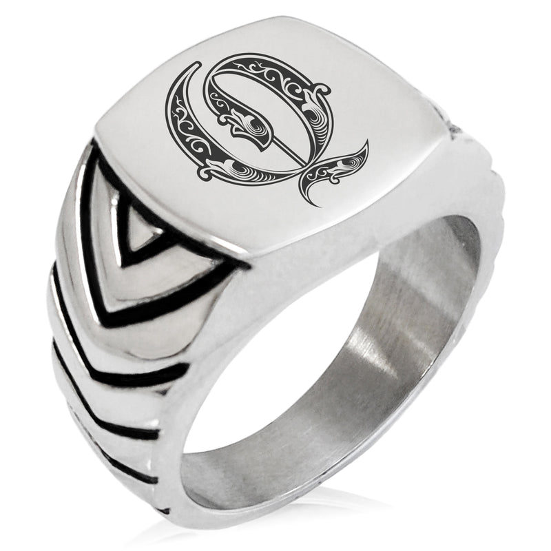 Stainless Steel Letter Q Alphabet Initial Royal Monogram Chevron Pattern Biker Style Polished Ring - Tioneer