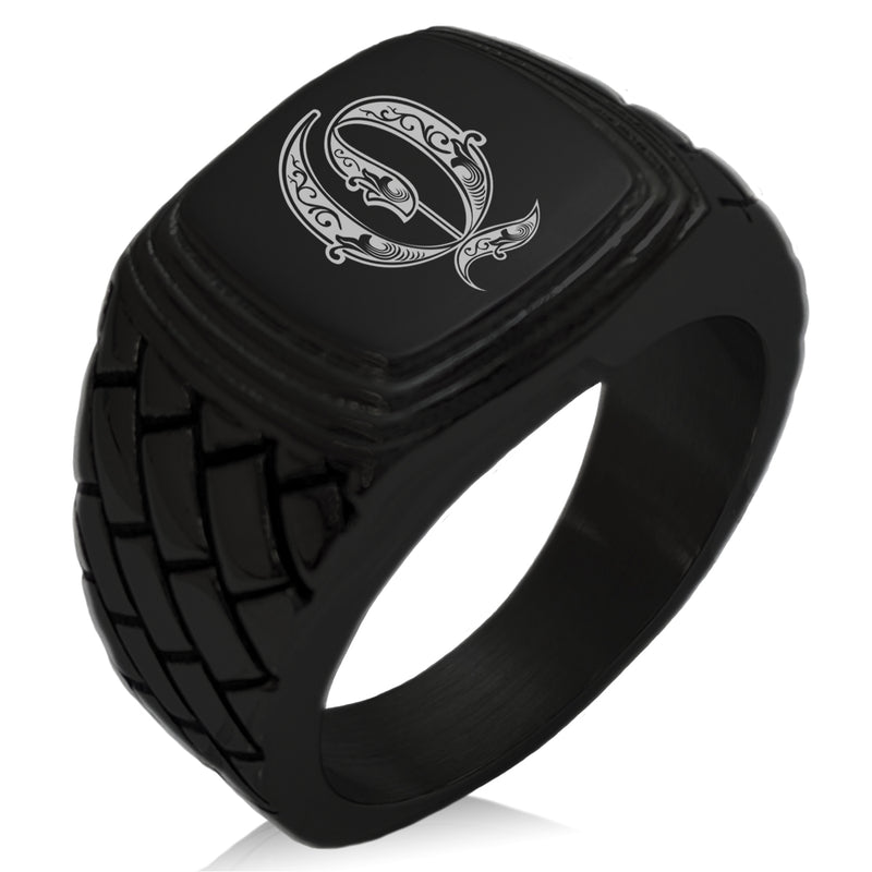 Stainless Steel Letter Q Alphabet Initial Royal Monogram Geometric Pattern Step-Down Biker Style Polished Ring - Tioneer