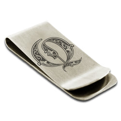 Stainless Steel Letter Q Alphabet Initial Royal Monogram Engraved Money Clip Credit Card Holder - Tioneer