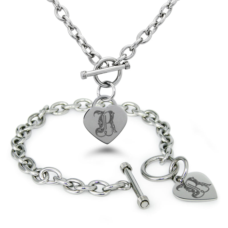 Stainless Steel Letter R Alphabet Initial Royal Monogram Engraved Heart Charm Toggle Link Bracelet Necklace Set - Tioneer