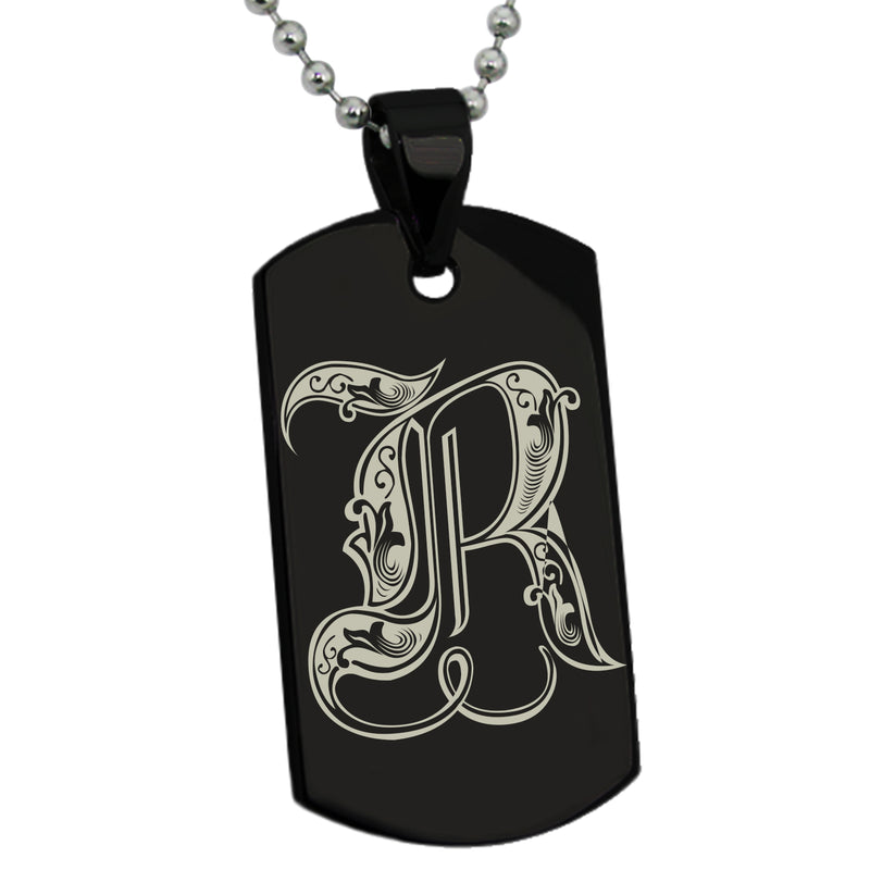 Stainless Steel Letter R Alphabet Initial Royal Monogram Engraved Dog Tag Pendant Necklace - Tioneer