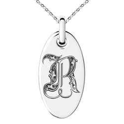 Stainless Steel Letter R Initial Royal Monogram Engraved Small Oval Charm Pendant Necklace