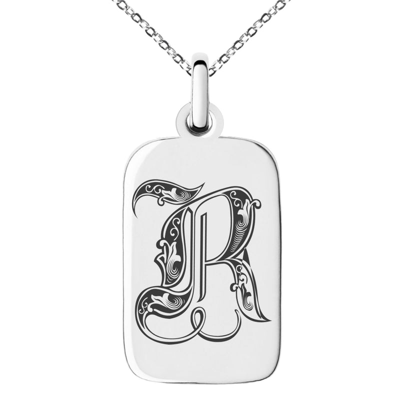 Stainless Steel Letter R Initial Royal Monogram Engraved Small Rectangle Dog Tag Charm Pendant Necklace