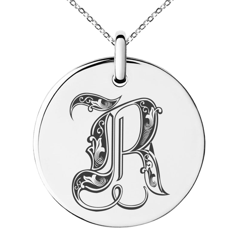 Stainless Steel Letter R Initial Royal Monogram Engraved Small Medallion Circle Charm Pendant Necklace