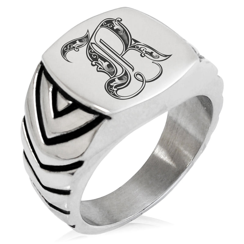 Stainless Steel Letter R Alphabet Initial Royal Monogram Chevron Pattern Biker Style Polished Ring - Tioneer