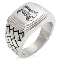 Stainless Steel Letter R Alphabet Initial Royal Monogram Geometric Pattern Step-Down Biker Style Polished Ring - Tioneer
