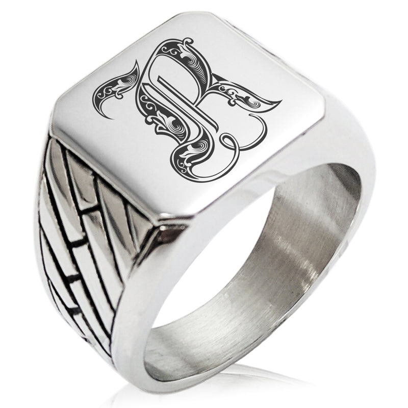 Stainless Steel Letter R Alphabet Initial Royal Monogram Geometric Pattern Biker Style Polished Ring - Tioneer