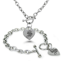 Stainless Steel Letter S Alphabet Initial Royal Monogram Engraved Heart Charm Toggle Link Bracelet Necklace Set - Tioneer