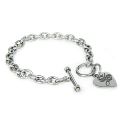 Stainless Steel Letter S Alphabet Initial Royal Monogram Engraved Heart Charm Toggle Link Bracelet - Tioneer