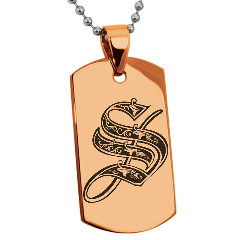 Stainless Steel Letter S Alphabet Initial Royal Monogram Engraved Dog Tag Pendant Necklace - Tioneer
