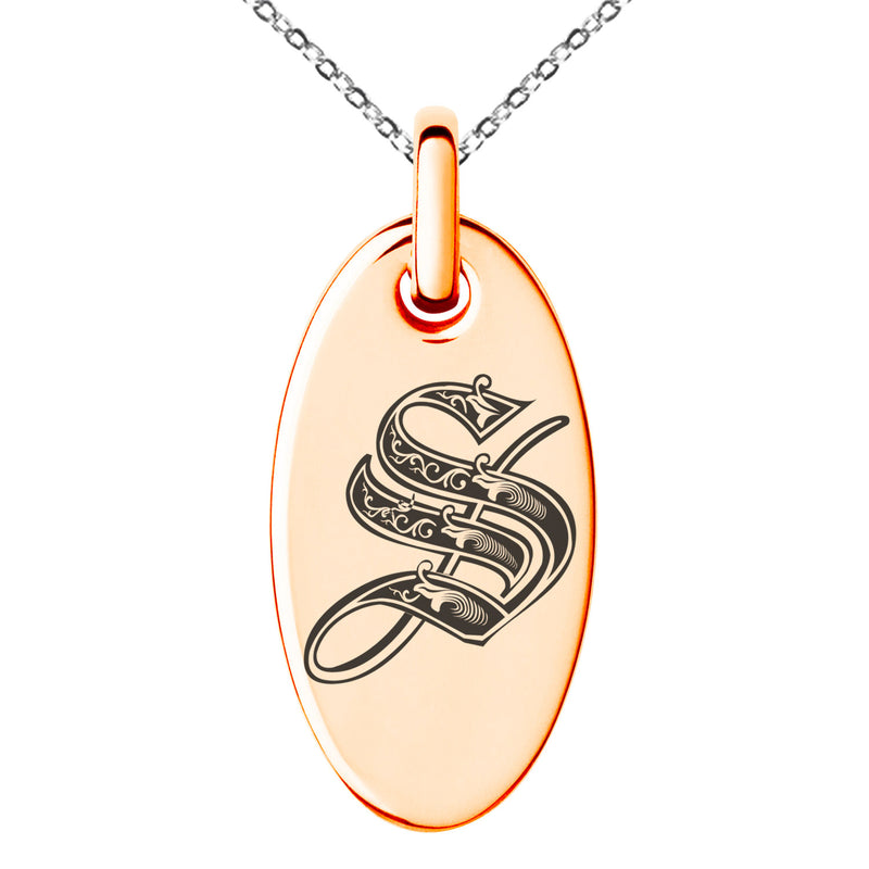 Stainless Steel Letter S Initial Royal Monogram Engraved Small Oval Charm Pendant Necklace