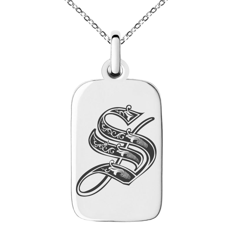Stainless Steel Letter S Initial Royal Monogram Engraved Small Rectangle Dog Tag Charm Pendant Necklace