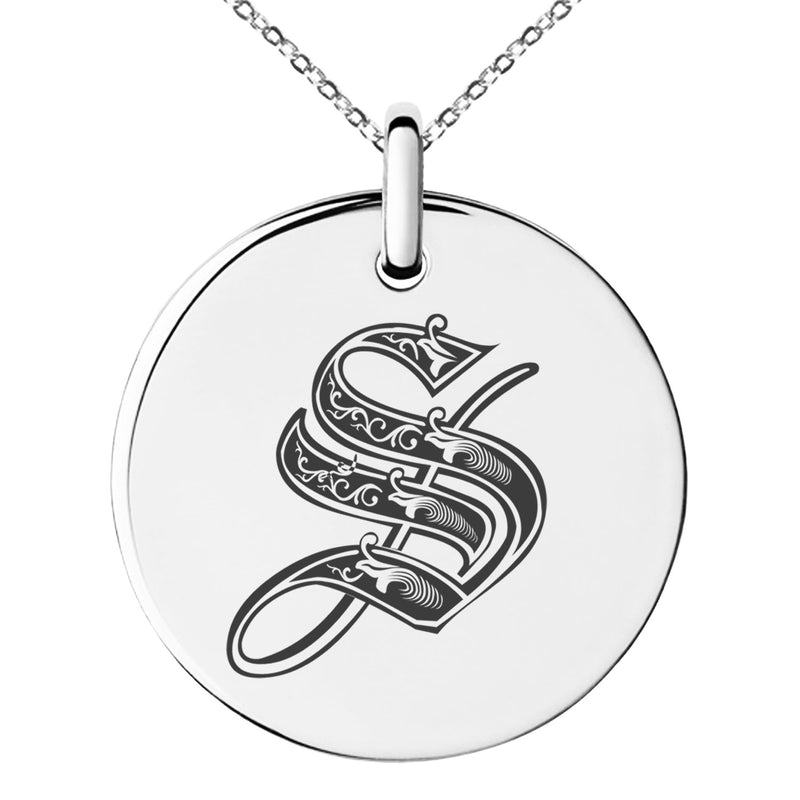 Stainless Steel Letter S Initial Royal Monogram Engraved Small Medallion Circle Charm Pendant Necklace