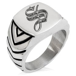 Stainless Steel Letter S Alphabet Initial Royal Monogram Chevron Pattern Biker Style Polished Ring - Tioneer