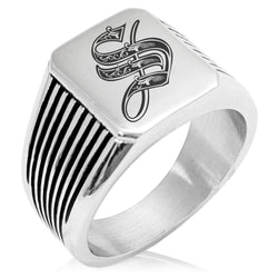 Stainless Steel Letter S Alphabet Initial Royal Monogram Needle Stripe Pattern Biker Style Polished Ring - Tioneer