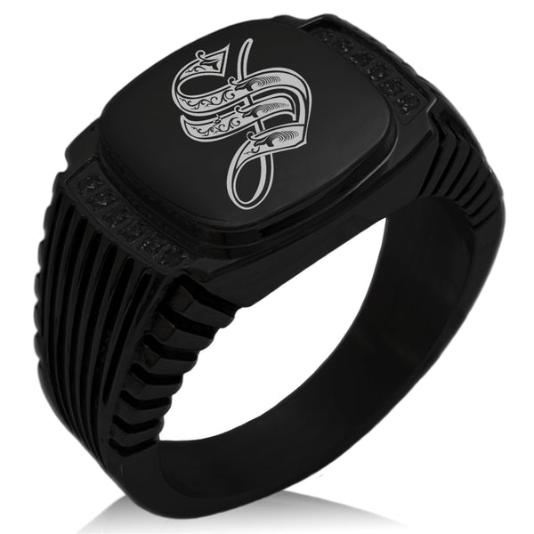 Stainless Steel Letter S Alphabet Initial Royal Monogram CZ Ribbed Needle Stripe Pattern Biker Style Polished Ring - Tioneer