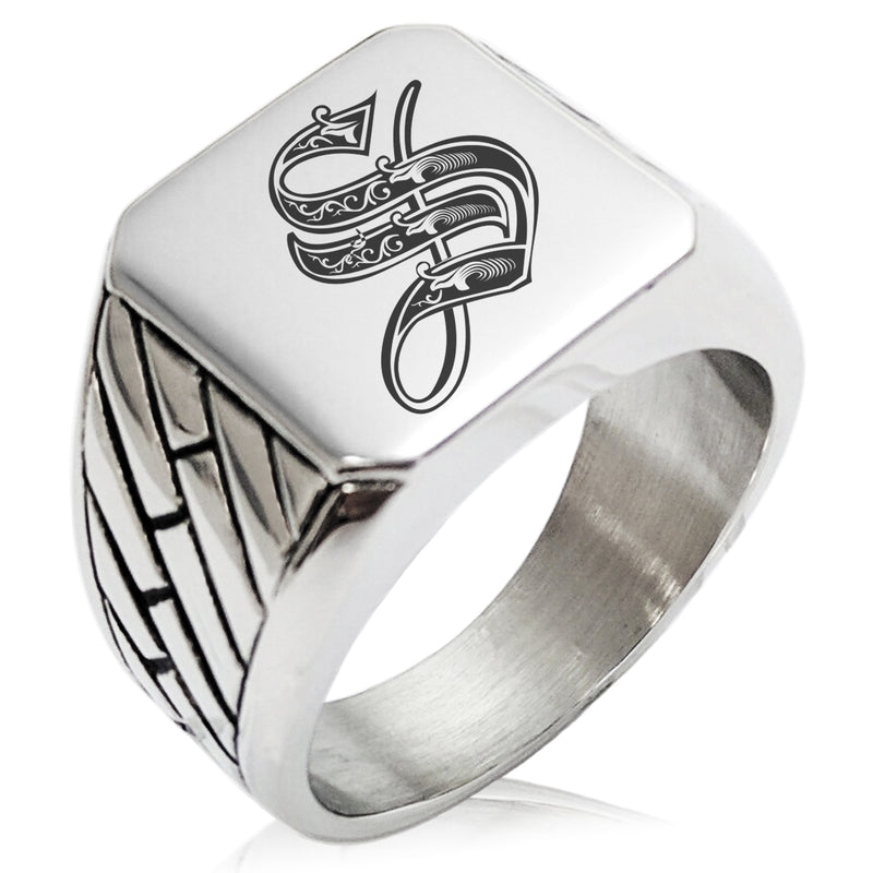 Stainless Steel Letter S Alphabet Initial Royal Monogram Geometric Pattern Biker Style Polished Ring - Tioneer