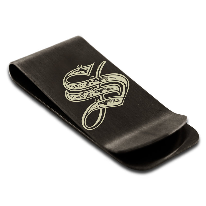 Stainless Steel Letter S Alphabet Initial Royal Monogram Engraved Money Clip Credit Card Holder - Tioneer