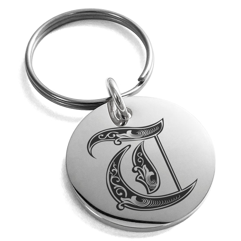 Stainless Steel Letter T Initial Royal Monogram Engraved Small Medallion Circle Charm Keychain Keyring - Tioneer