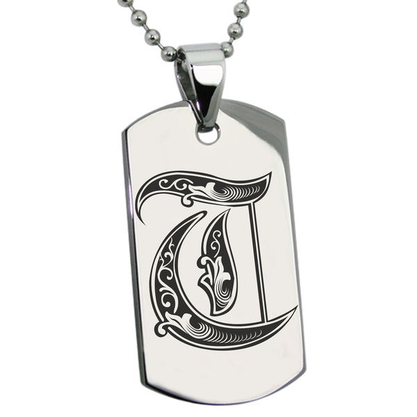 Stainless Steel Letter T Alphabet Initial Royal Monogram Engraved Dog Tag Pendant Necklace - Tioneer