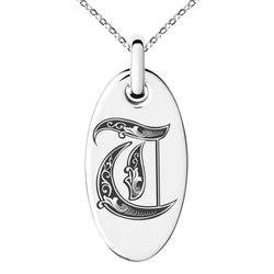 Stainless Steel Letter T Initial Royal Monogram Engraved Small Oval Charm Pendant Necklace