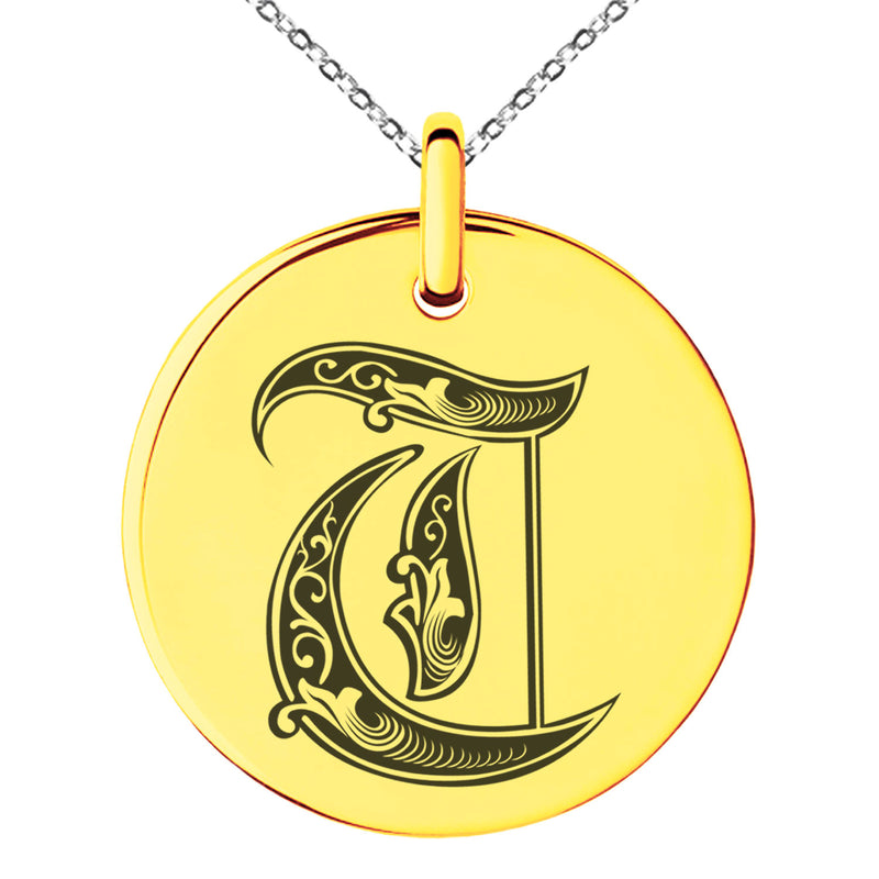 Stainless Steel Letter T Initial Royal Monogram Engraved Small Medallion Circle Charm Pendant Necklace