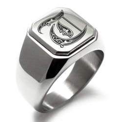 Stainless Steel Letter T Alphabet Initial Royal Monogram Engraved Square Flat Top Biker Style Polished Ring - Tioneer