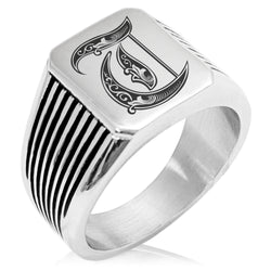 Stainless Steel Letter T Alphabet Initial Royal Monogram Needle Stripe Pattern Biker Style Polished Ring - Tioneer