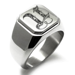 Stainless Steel Letter U Alphabet Initial Royal Monogram Engraved Square Flat Top Biker Style Polished Ring - Tioneer