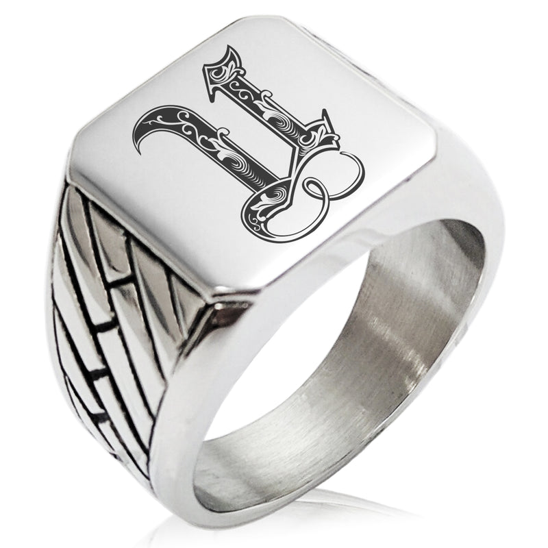 Stainless Steel Letter U Alphabet Initial Royal Monogram Geometric Pattern Biker Style Polished Ring - Tioneer