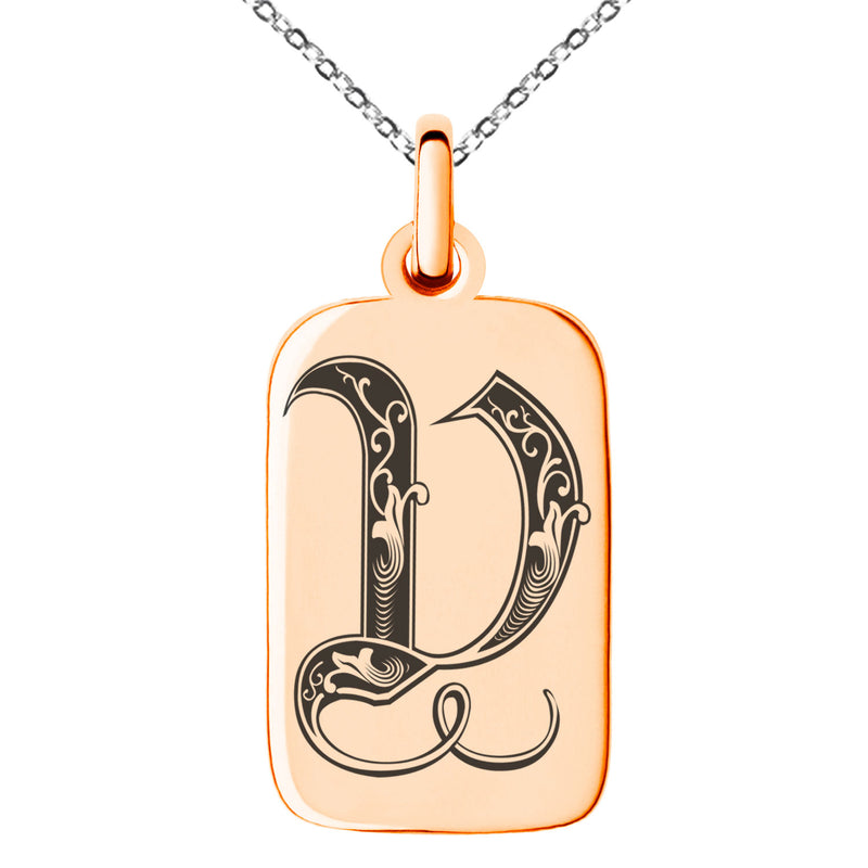 Stainless Steel Letter V Initial Royal Monogram Engraved Small Rectangle Dog Tag Charm Pendant Necklace