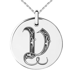 Stainless Steel Letter V Initial Royal Monogram Engraved Small Medallion Circle Charm Pendant Necklace