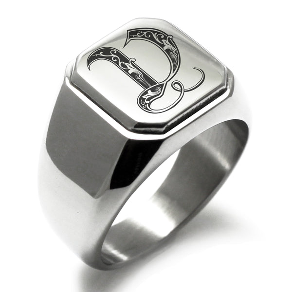 Stainless Steel Letter V Alphabet Initial Royal Monogram Engraved Square Flat Top Biker Style Polished Ring - Tioneer