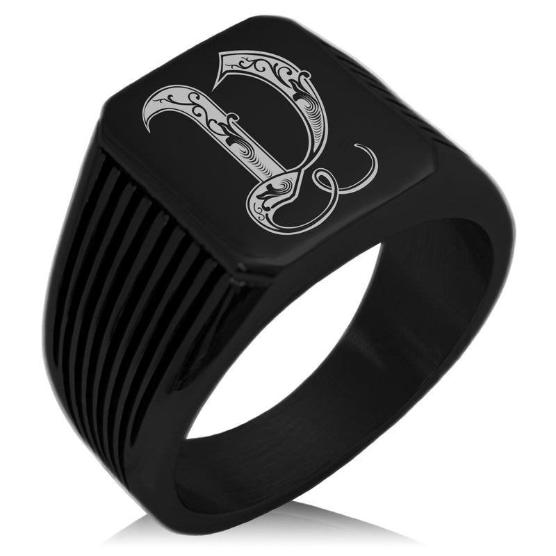 Stainless Steel Letter V Alphabet Initial Royal Monogram Needle Stripe Pattern Biker Style Polished Ring - Tioneer
