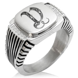 Stainless Steel Letter V Alphabet Initial Royal Monogram CZ Ribbed Needle Stripe Pattern Biker Style Polished Ring - Tioneer