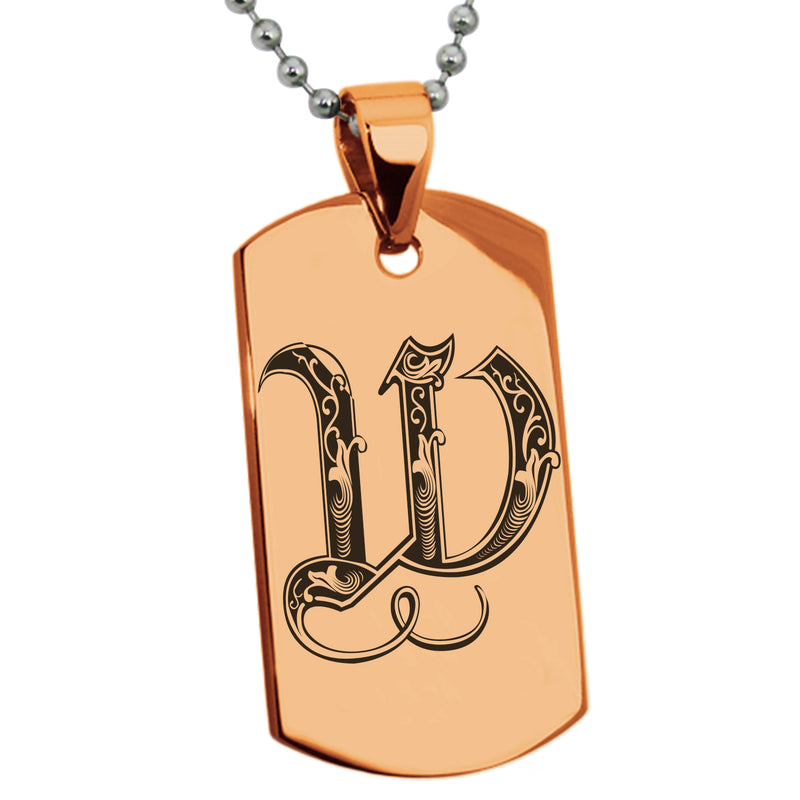 Stainless Steel Letter W Alphabet Initial Royal Monogram Engraved Dog Tag Pendant Necklace - Tioneer