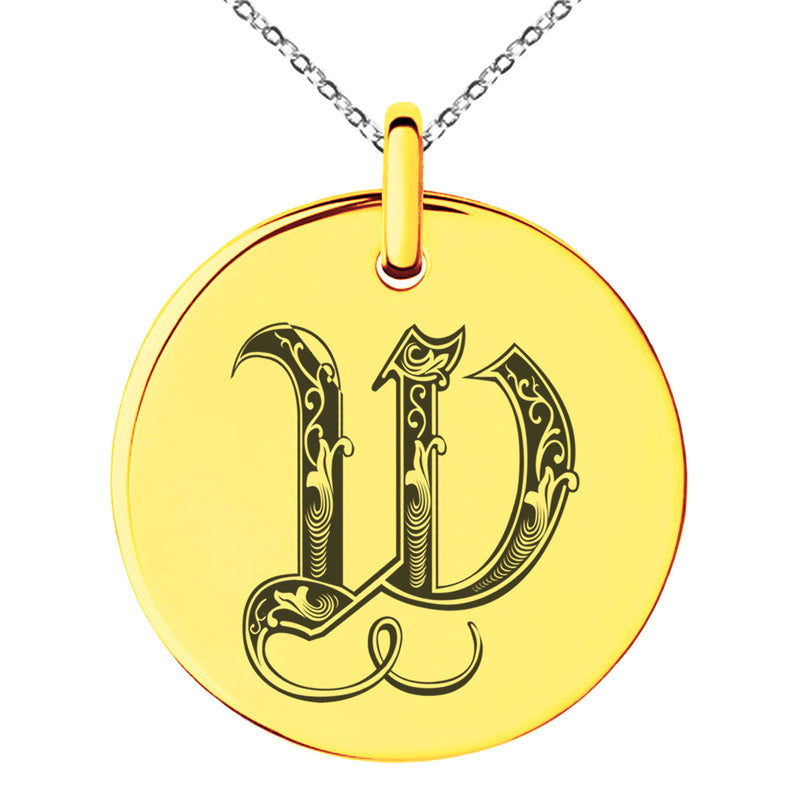 Stainless Steel Letter W Initial Royal Monogram Engraved Small Medallion Circle Charm Pendant Necklace