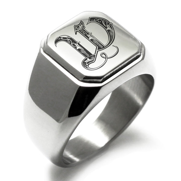 Stainless Steel Letter W Alphabet Initial Royal Monogram Engraved Square Flat Top Biker Style Polished Ring - Tioneer
