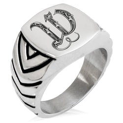 Stainless Steel Letter W Alphabet Initial Royal Monogram Chevron Pattern Biker Style Polished Ring - Tioneer