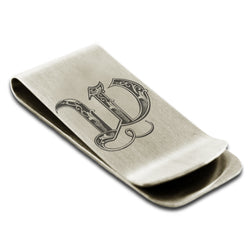 Stainless Steel Letter W Alphabet Initial Royal Monogram Engraved Money Clip Credit Card Holder - Tioneer