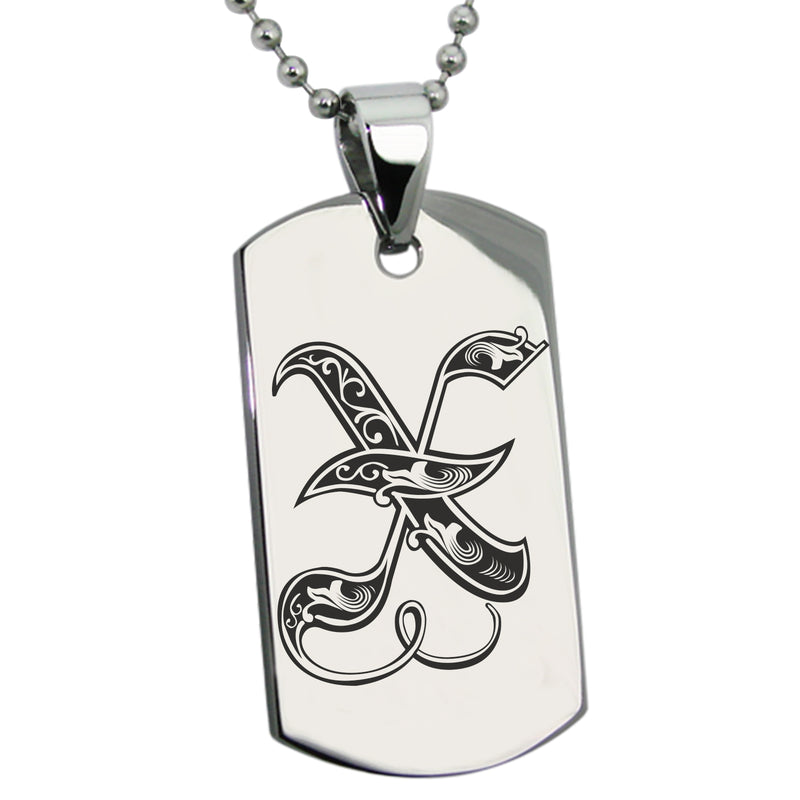 Stainless Steel Letter X Alphabet Initial Royal Monogram Engraved Dog Tag Pendant Necklace - Tioneer
