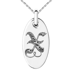 Stainless Steel Letter X Initial Royal Monogram Engraved Small Oval Charm Pendant Necklace