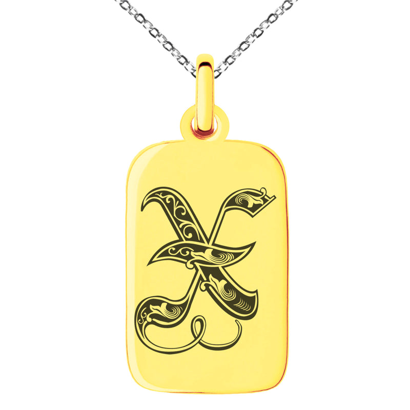 Stainless Steel Letter X Initial Royal Monogram Engraved Small Rectangle Dog Tag Charm Pendant Necklace