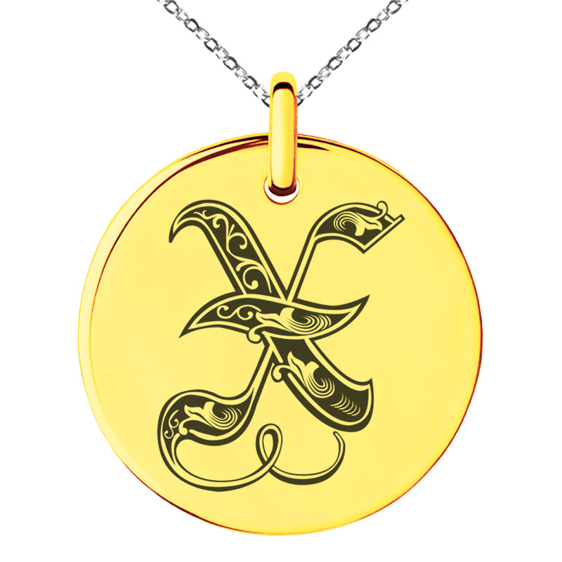 Stainless Steel Letter X Initial Royal Monogram Engraved Small Medallion Circle Charm Pendant Necklace
