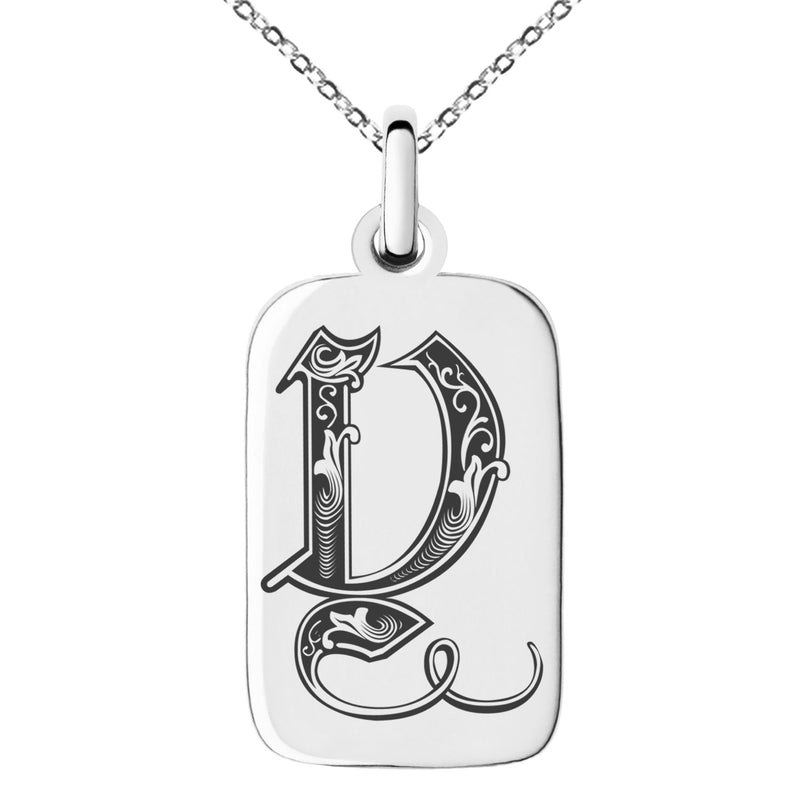 Stainless Steel Letter Y Initial Royal Monogram Engraved Small Rectangle Dog Tag Charm Pendant Necklace - Tioneer