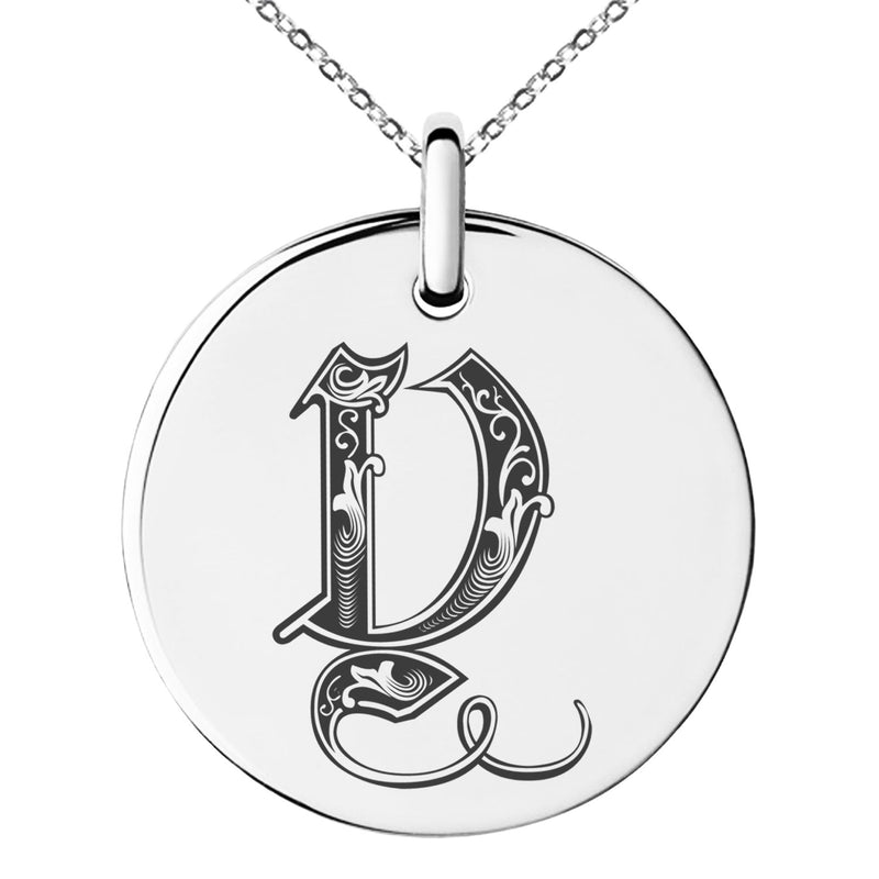 Stainless Steel Letter Y Initial Royal Monogram Engraved Small Medallion Circle Charm Pendant Necklace - Tioneer