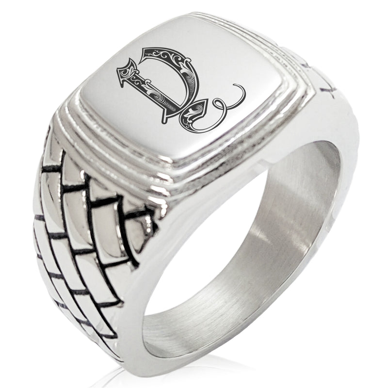 Stainless Steel Letter Y Alphabet Initial Royal Monogram Geometric Pattern Step-Down Biker Style Polished Ring - Tioneer